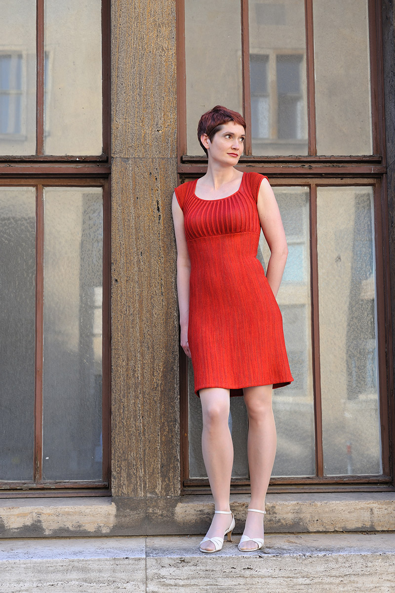 Rotes Kleid Strick